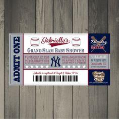 New York Yankees Baby Shower Ticket Invitation Baby Shower Quotes, Baby Shower Cards, Baby Shower Themes, Baby Boy Shower, Baby Shower Invitations, Baby Shower Gifts, Shower Ideas, Party Invitations, Yankees Baby