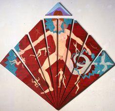Luigi Ontani - Fofo non ha fifa -  E' un dipinto costruito con nove tele, triangoli staccati e ricomposti che alludono ad un oggetto frivolo come il #ventaglio, ma che ricordano e segnano -negli spazi bianchi fra una tela e l'altra e nelle verdi crettature all'interno- le spaccature della terra campana.
