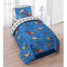 #oBedding - #Jay Franco and Sons Disney Planes Twin Bedding Tote Bag Set - 5pc Dusty Crophopper Airplane Comforter Sheets - AdoreWe.com