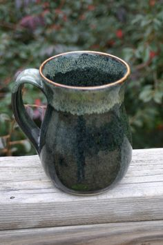 Pottery Mug with Handle Black Glaze with Brown by Beaverspottery, $15.00