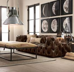 restoration hardware's chesterfield + the moon phases art. pretty neat !