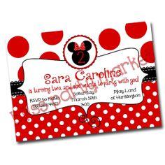 Red Minnie Mouse Birthday Invitation Digital by BlissPartyMarket, $15.00