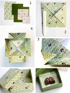Si siempre has querido probar origami, esta caja de regalo es una manera fácil de aprender:   24 Cute And Incredibly Useful Gift Wrap DIYs Homemade Gift Boxes, Diy Origami, Origami Boxes, Origami Gift Box, Gift Wraping, Diy Box, Gift Packaging, Diy Paper, Paper Crafts