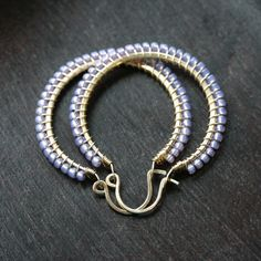 Handmade beaded hoops lavender purple glass by MimiMicheleJewelry