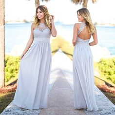 NEW COLOR! Our best selling crochet maxi is now here in this awesome Gray color! Shop at savedbythedress.com