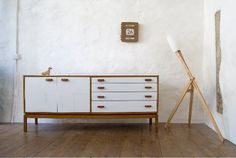 White flamingo sideboard by Lucy Turner Designs. G Plan Sideboard, Retro Sideboard, Walnut Sideboard, White Sideboard, White Flamingo, Hallway Storage, Retro Furniture, Lucy Turner, Contemporary Furniture
