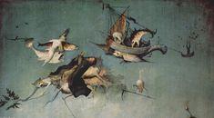 Las tentaciones de San Antonio (detalle panel izq), oleo en panel de Hieronymus Bosch (1450-1516, Netherlands)