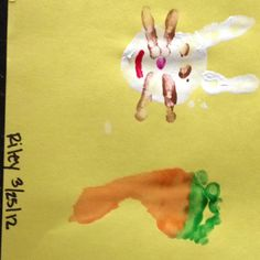 Riley's easter Craft  Riley's hand print As a bunny: eyes is thumb print, nose in pinky print and whiskers is the pointer finger foot print as the bunny: carrot!!