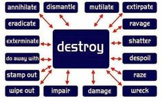 Other way to say Destroy #English #Vocabulary        Repinned by Chesapeake College Adult Ed. Free classes on the Eastern Shore of MD to help you earn your GED - H.S. Diploma or Learn English (ESL).  www.Chesapeake.edu