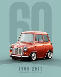 2019 marks the anniversary of the best little car. First rolling off the line as the Austin and Morris Mini-Minor, it went on to… Mini Cooper S, Mini Cooper Classic, Classic Mini, Classic Cars, Car Illustration, Illustrations, Mercedes Car, Cabriolet, 60th Anniversary