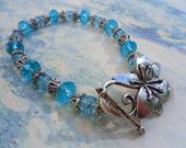 Crystal Lake Blue Crystal and Crackle Glass Bracelet in Tibet Silver FREE SHIPPING & GIFTWRAPPING    Etsy.com, look for FizbanFunDesigns