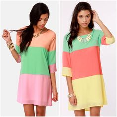 Candy color block dresses <3 perfect for spring