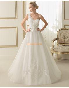Schicke Einschulter A-linie Organza Brautkleider mit Applikation 118 ELFO   luna novias 2014