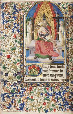 Pieta trinity  Item No: mca2081622  Additional Title: Book of Hours  Script: Gothic bookhand   Language: Latin; French (calendar, prayers ff. 156r-165v, and rubrics)   Folio Number: f. 162v   France, Paris, 1475     ShelfMark: Lewis E 208