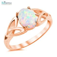Rose Gold White Lab Opal White Celtic Shank Lab Opal Oval Clear Split Shank 925 Sterling Silver Solitaire Engagement Ring Fashion Jewel