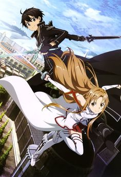 Sword Art Online, Kirito + Asuna, official art... - http://centophobe.com/sword-art-online-kirito-asuna-official-art-2/ -