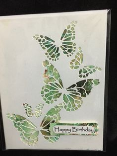 Birthday; Memory Box Reverse Butterfly Collage; Stampin Up Word Window and Modern Label;
