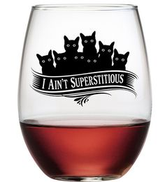 So, how superstitious are you?  If a black cat crosses your path, do you have a bad day?  If you end your day with a glass of wine in one of these cute glasses, we think you are sure to have good luck.