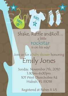 Rockstar Baby Shower Boy Guitar Invitations by lisamt2001 on Etsy, $12.00