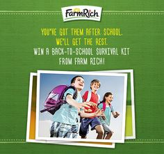 Bookbags are packed and lunches are made! It's #BacktoSchool time! Enter 2 win a #BackToSchool Family Survival Kit w/ lots of fun surprises as part of our September Monthly Giveaway! Click here to enter by Sept. 17: https://www.facebook.com/FarmRichSnacks/app_1645286682363093