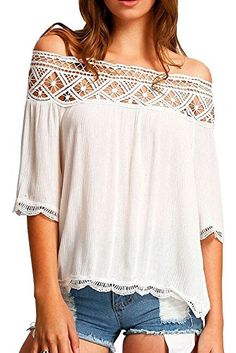 47c28ea4ebe LOSRLY Womens Cute Lace Crochet Off the Shoulder Crop Tops Blouses and  Shirts White S 4