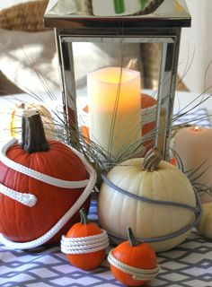 Nautical rope pumpkin DIY Idea! Featured on CC: http://www.completely-coastal.com/2014/09/coastal-autumn-nautical-pumpkins.html