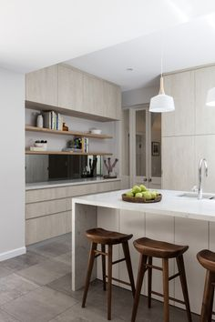 BRONTE KITCHEN by The Designory + B2 Construction.  This stunning transformation was created for a lively young local family it included a true entertainers kitchen, two classic marble clad bathrooms, a powder room/laundry, new bi-fold doors and windows, and an update to the master bedroom and walk in robe.
