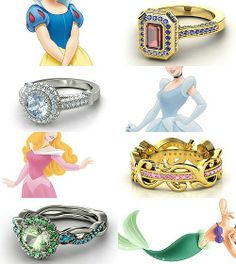 Rings inspired by the Disney Princesses - Part I Snow White, Cinderella,Aurora, and Ariel