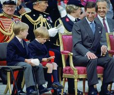 The Prince of Wales with his sons, Princes William and Harry.