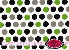 LIME BLACK GRAY Dots on White Fabric by the yard