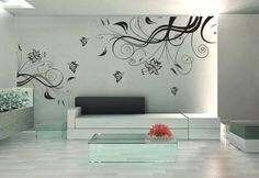plants wall decal- vinyl wall sticker art deco floral butterfly. $24.99, via Etsy.