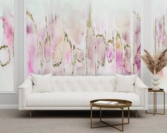 """""""Sweet Tooth"""" is electric pattern dripping with shades of pink, peach, white, gray, and gold to make a beautifully blush accent wall. Large and stunning, perfect for a hallway, nursery, babe cave or bedroom. Create real gold tones with the complimentary kit to transfer gold leaf onto the abstract, digital printed design. The """"Sweet Tooth"""" mural is an authentic Blueberry Glitter painting converted into a large wall mural. Gold Wallpaper, Self Adhesive Wallpaper, Peel And Stick Wallpaper, Large Wall Murals, Removable Wall Murals, Babe Cave, Prepasted Wallpaper, Hand Painted Walls, Glitter Paint"""