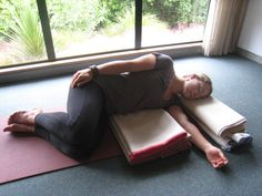 Restorative Yoga. Want to do this at our weekly yoga class at work.