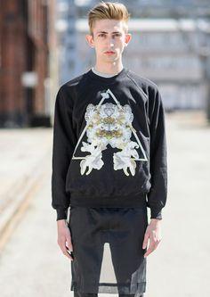 Black Sweatshirt With Triangle Print via KOLYA KOTOV. Click on the image to see more!