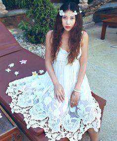 Bohemian Fashion Handmade embroidered cotton blend midi dress