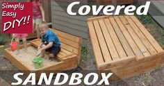 DIY Covered Sandbox plans with built in bench seat. How to video with complete instructions, a cut list and materials needed. Build A Sandbox, Kids Sandbox, Sandbox Diy, Sandbox Ideas, Backyard Playground, Backyard For Kids, Diy For Kids, Backyard Games, Backyard Ideas
