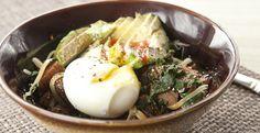 Chard, egg, and avocado bowl (just minus the ham to make veggie)