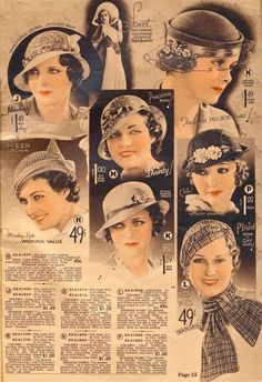1930s fashion accessories: hats, milinery. Hats from Chicago Mail Order Catalog 1933 source: http://what-i-found.blogspot.com/2009_11_01_archive.html Chanel lipstick Giveaway