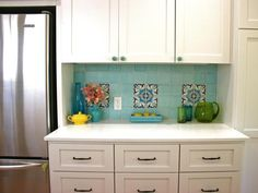 Blue Tile Backsplash and White Cabinets DONE AS AN ACCENT AT MY COFFEE BAR AREA!!!!!!!!!!!!!!! - Kitchen Cabinet Inspirations on HGTV