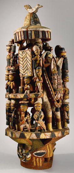 Africa | Yoruba Epa Helmet Mask by Bamgboye, the Alaga of Odo-Owa (ca. 1895-1978), Ekiti, Nigeria | Wood and paint | ca. 1960s or earlier