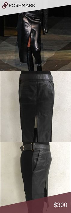 ALEXANDER WANG COLLECTION LEATHER SKIRT SIZE 2 Alexander Wang Fall/Winter collection long leather skirt with slit. Black leather with contrasting stretch fabric and gold hardware. Worn but in great condition! Size US 2. Actual measurements are posted. Alexander Wang Skirts Midi
