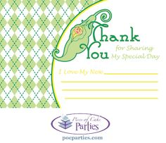 Pea in a pod baby shower thank you notes.  By Piece of Cake Parties.  Charming.  Effortless.  Affordable.