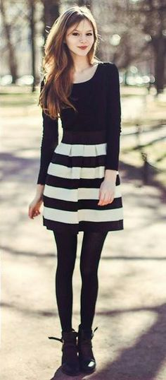 cute black and white striped skirt outfit