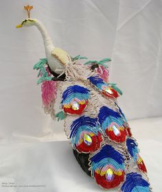 Королевский павлин (белый)   biser.info - всё о бисере и бисерном творчестве