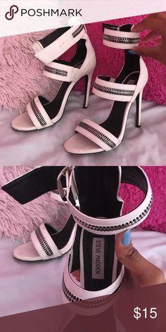 White Zipper Look Steve Maddens White heels Steve Madden Shoes Heels