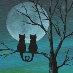 Kitties in the moonlight