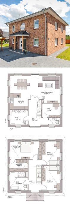 Stadtvilla Neubau mit Klinker Fassade & Walmdach Architektur - Massivhaus bauen Grundriss mit Kamin ECO Haus Henstedt - HausbauDirekt.de