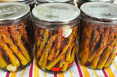 Pickled Asparagus With Hot Peppers and Garlic