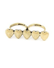 Brandy Melville double ring with hearts en.bechick.com