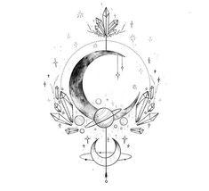 Thigh Piece Tattoos, Vine Tattoos, Dream Tattoos, Leg Tattoos, Body Art Tattoos, Future Tattoos, Small Moon Tattoos, Tattoo Moon, Chandelier Tattoo